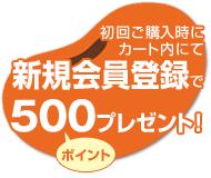 会員登録で500ポイント